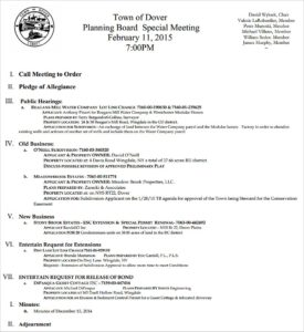 Dover Planning Board 2.11.15 Meeting Agenda