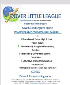 Registration for Dover Little League is happening NOW!