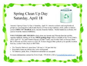 Amenia Clean Up Day – April 18