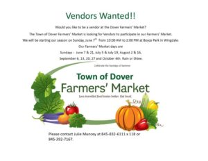 Town of Dover Farmers' Market Vendors Wanted