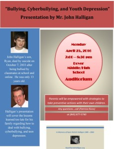 """Bullying, Cyberbullying, and Youth Depression"" Presentation by Mr. John Halligan"