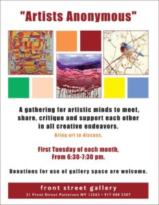 Artist Anonymous meeting Tuesday March 7th, new time schedule, 6:30 to 7:30pm. Hope to see you there! — with Beverley J Elgar and Rebecca Tocci.
