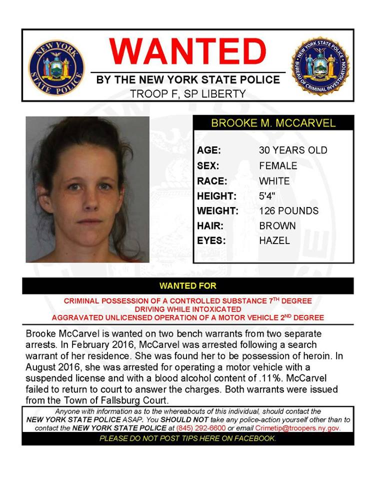 Wanted for criminal possession of a controlled substance 7th degree, driving while intoxicated, aggravated unlicensed operation of a motor vehicle ...
