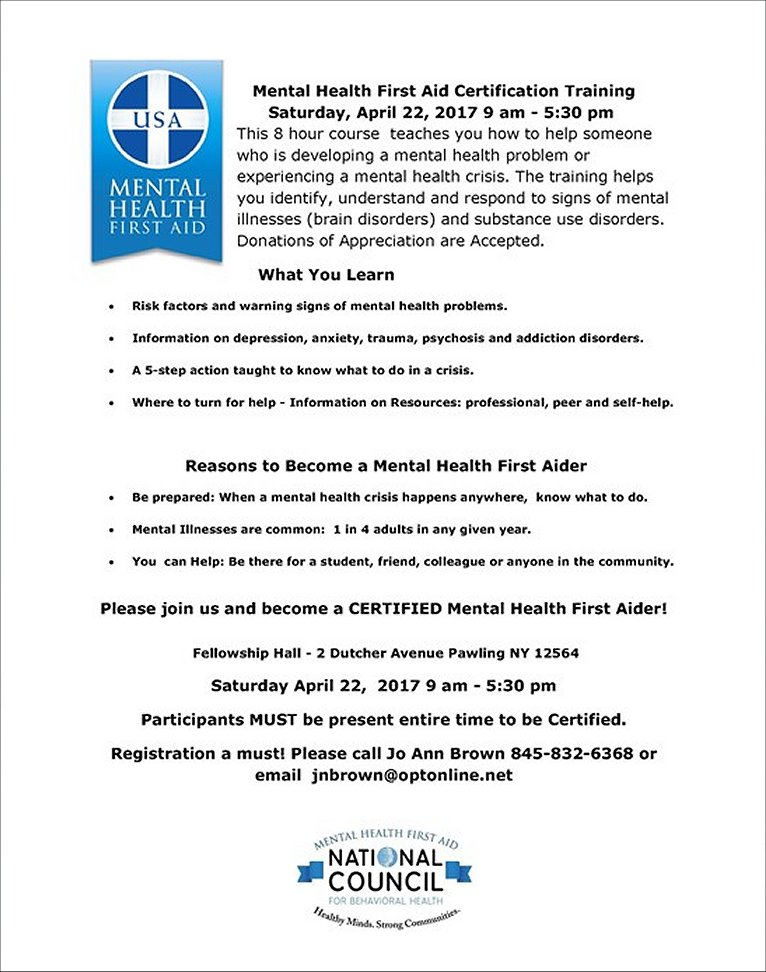 Mental Health First Aid Certification Training 42217 The