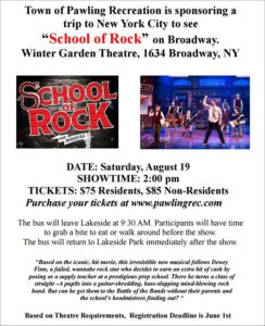"""Pawling Recreation trip to see """"School of Rock"""""""
