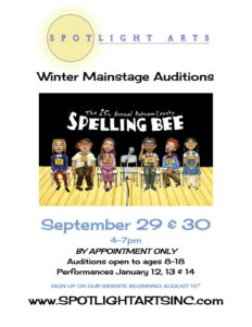 "Auditions for Spotlight Arts' Winter Mainstage ""25th Annual Putnam County Spelling Bee"" this Weekend"