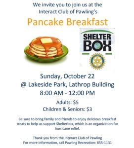 The Interact Club of Pawling is hosting their annual Pancake Breakfast onSunday, October 22nd
