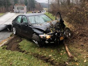 One car accident on Route 22 near Thunder Ridge Road