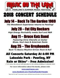 """Pawling's """"Music By The Lake"""" Announces 2018 Free Summer Concert Schedule"""