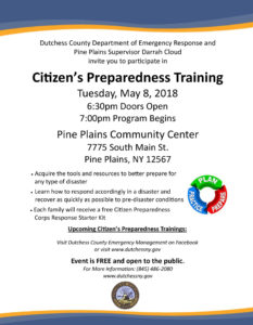 Citizens Preparedness Training May 8th in Pine Plains