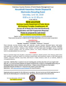 Household Hazardous Waste Disposal & Electronics Recycling Event to be Held at New Location