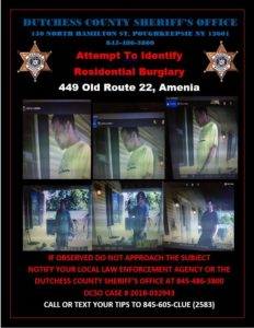 Wanted by The Dutchess County Sheriff's Department for Amenia Burglary