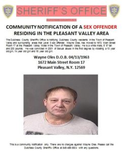 COMMUNITY NOTIFICATION OF A SEX OFFENDER RESIDING IN THE PLEASANT VALLEY AREA