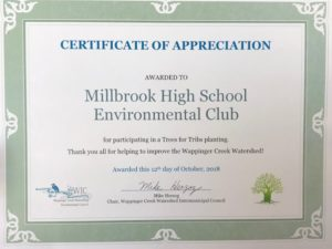 Environmental Club Receives Certificate of Appreciation