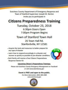 Citizens Preparedness Training to be Held in Stanford October 23rd