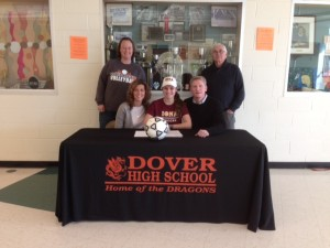 Megan Wood a Dover High School Senior, recently signed her national letter of intent to play division one women's soccer at Iona College in New Rochelle NY.
