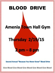 "Amenia Second Annual ""Because ""You Never Know"" Blood Drive"
