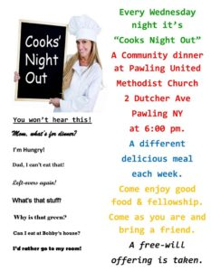 "Every Wednesday it is ""Cooks Night Out"""