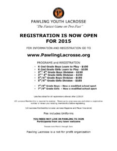 Pawling Youth  Lacrosse Registration