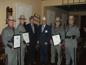 Three members of Troop K recognized by the American Legion for acts of valor and heroism