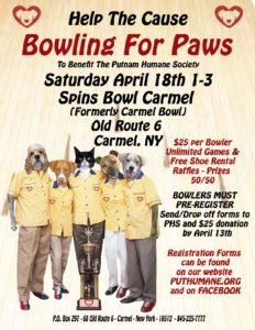 BOWLING FOR PAWS to benefit the Putnam Humane Society!