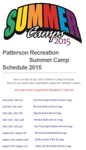 Patterson Recreation Summer Camp Registration is now open!