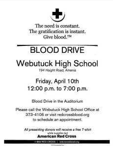 Blood Drive – Webutuck High School – April 10