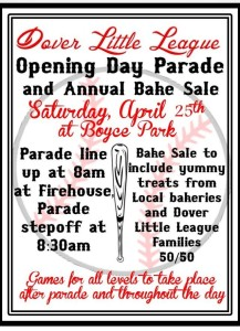 Dover Little Leagues AMAZING Annual Opening Day Bake Sale!
