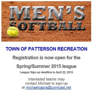 Men's Softball League – Registration open