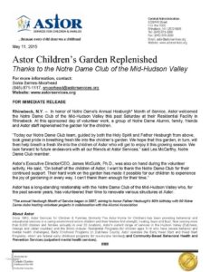 Astor Children's Garden Replenished Thanks to the Notre Dame Club of Mid-Hudson Valley