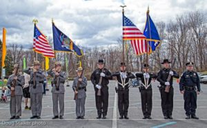 Members of the State Police, Columbia County Sheriffs Office and Chatham Police Department formed an honor guard at Sean's Run in Chatham