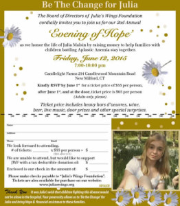 2nd Annual  Evening of Hope  Gala June 12, 2015 7-10 pm Candlelight Farms New Milford, CT