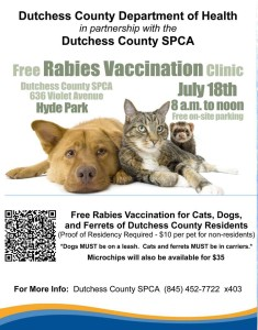 FREE rabies clinic for Dutchess County residents!