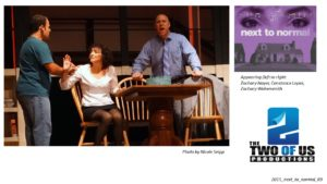 """Two of Us Productions Presents  """"…a life that's… NEXT TO NORMAL"""""""