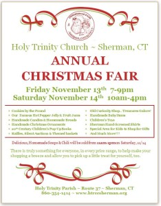 Holy Trinity's Christmas Fair on tap November 13th & 14th
