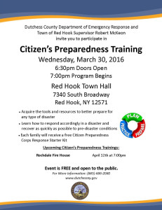 Upcoming Citizen's Preparedness Training in Red Hook 3/30