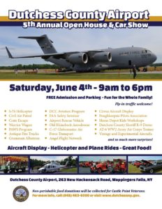 Dutchess County Airport 5th Annual  Open House & Car Show to be Held June 4th