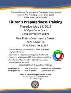 Citizen's Preparedness Training to be Held in  Pine Plains this Thursday