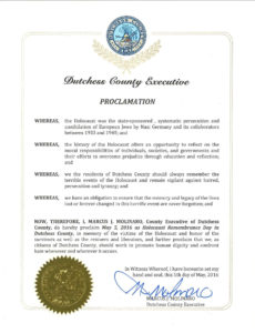 County Executive Molinaro Declares Today as Holocaust Remembrance Day in Dutchess County