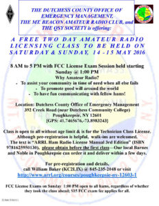 Amateur Radio Licensing Class to be Held this Weekend
