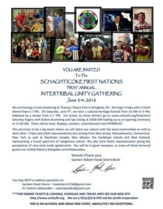 Schaghticoke First Nations First Annual Intertribal Unity Gathering is on June 3rd- June 4th