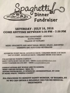 Pawling Spaghetti Dinner Fundraiser