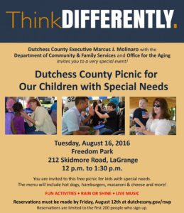 Dutchess County to Host 4th Annual Special Needs Picnic  August 16th at Freedom Park