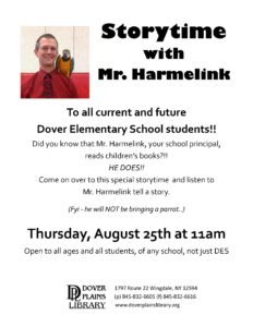 Everyone is invited to a very special story time at the Dover Plains Library on August 25th at 11AM.