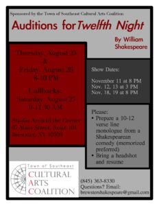 Auditions will soon be held for a production of Twelfth Night by William Shakespeare