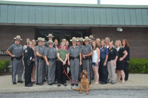 Employees of Troop K gathered to say farewell to Major Robin H. Benziger