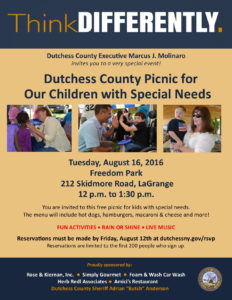 RSVP Today – Picnic for Children with Special Needs  Tuesday, August 16th at Freedom Park