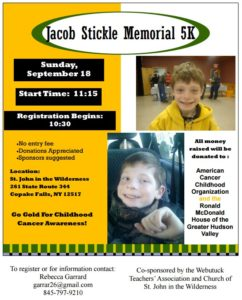5K to celebrate the life of Jacob Stickle and raise money for childhood cancer charities