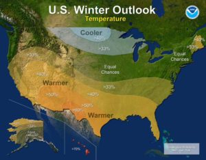 U.S. Winter Outlook predicts warmer, drier South and cooler, wetter North