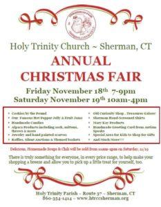 Holy Trinity's Christmas Fair on tap November 18th & 19th